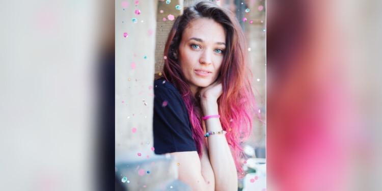 Pink hair woman portrait